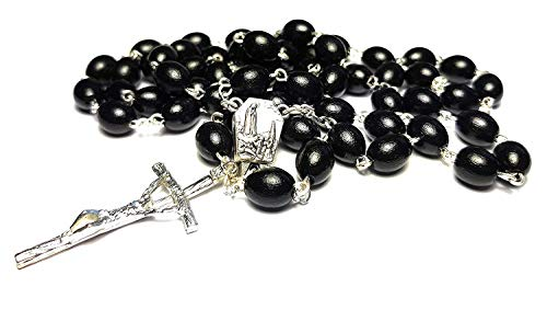 Rosary Wooden with HOLY Water from Fatima Fatima Our Lady of Fatima Necklace Beads Prayer First Communion Marian apparitions (Black)