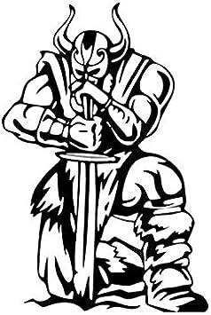 Etiqueta de la pegatina para el parachoques del coche 9.7 * 14.5CM cubriendo el cuerpo arrodillado listo para atacar al soldado guerrero vikingo vinilo negro/plateado 1 piezas: Amazon.es: Bricolaje y herramientas