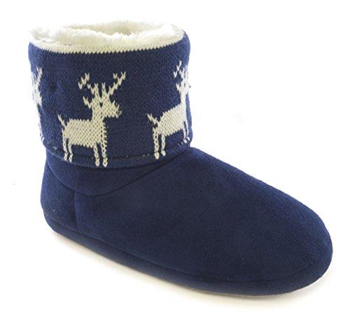 Damen Neuheit Weihnachten Stiefel Slipper mit Blinkend LED Lichter Blau mit Rentiere