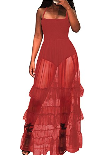 (Ophestin Women Sleeveless Strap Tunic Bodysuits with Mesh Sheer Flowy Ruffle Long Maxi Dress Red)