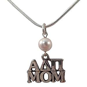 """Alpha Delta Pi plata de ley mamá encanto con blanco perla y 18""""cadena ADPI"""