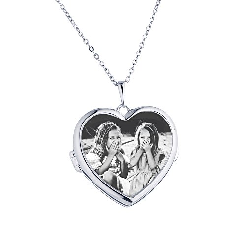 Sterling Silver-Glass-Custom Photo Locket Necklace-18-inch chain-The Nina by With You Lockets by With You Lockets