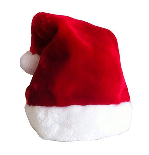 Deluxe Traditional Santa Claus Christmas Hat Plush Trim Red&white Unisex Cap]()