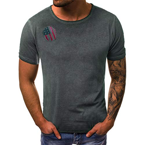 Toponly Boys Youth Men's Independence Day Short Sleeves Tops T-Shirt Distressed Star Striped Splicing Pattern USA Flag 3D Printing Patriotic Tee Pullover ()