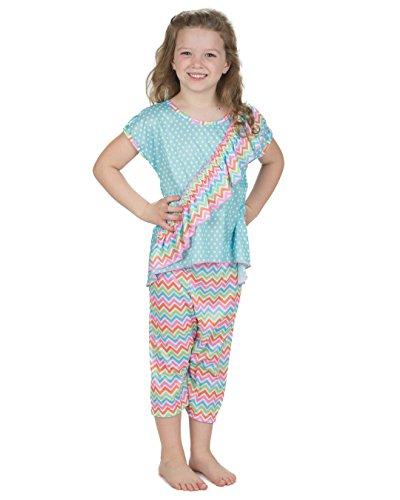 Laura Dare Girls Flutterby Vertical Ruffle Pajamas