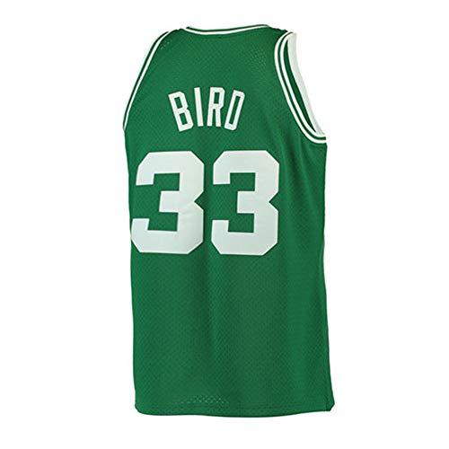 Yshffz Mens Bird Jersey 33 Basketball Road Adult Larry Boston Sizes Green (Green, Small)