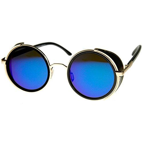 3375f0376bc Galleon - ZeroUV - Studio Cover Color Mirror Lens Side Shield Metal Round  Sunglasses (Gold Ice)