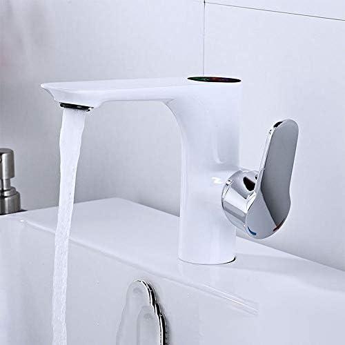 毎日の装飾スマートタップ蛇口モダンミニマリスト銅の洗面器ホットおよびコールド洗面器バスルームドロップシングルホールLedスクリーンHdディスプレイ温度コールドタップ