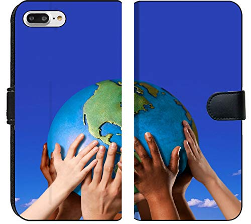 Apple iPhone 7 Plus Flip Fabric Wallet Case Image of World Globe Earth Environment Nature Planet Global Hand Concept Hold Blue Protection map Background peac