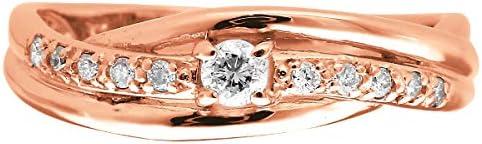 ダイヤモンド K10 ピンクゴールド リング 指輪 22号 天然 ダイヤ 日本製