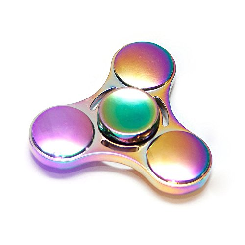 Teclan Cool Rainbow Color Fidget Spinner, Round Tri Fidget Hand Spinner, Ultrafast Bearings Fidget Toys, Stress Reducer Anxiety Relief Toys, Metal, US Seller in USA