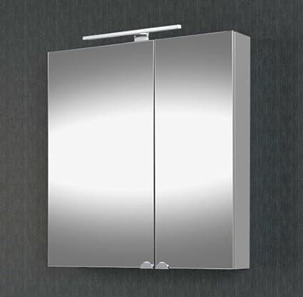 Planetmöbel Spiegelschrank Badezimmer mit LED Beleuchtung 60 cm (Weiß)