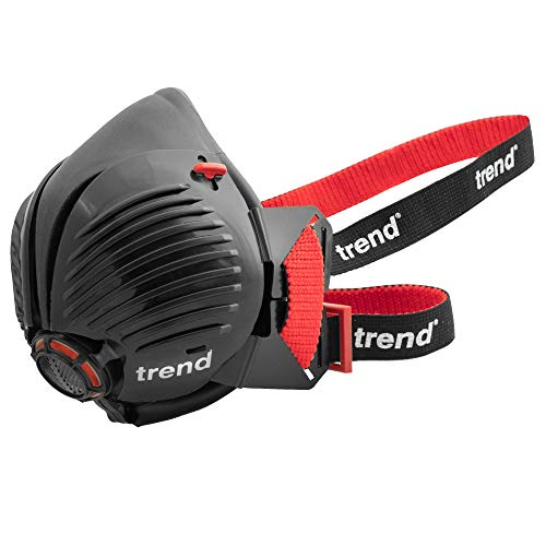Trend AIR Stealth Half Mask APF10 with replaceable and reusable filters included N100 Safety Respirator Protects against airborne particles, mist, plaster and silica dust (Small/Medium Size)