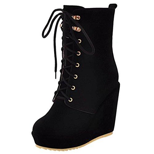 AIYOUMEI Damen Winter Keilabsatz Stiefeletten mit Schnürung Kurzschaft Stiefel mit Kurzer Plüsch Schwarz