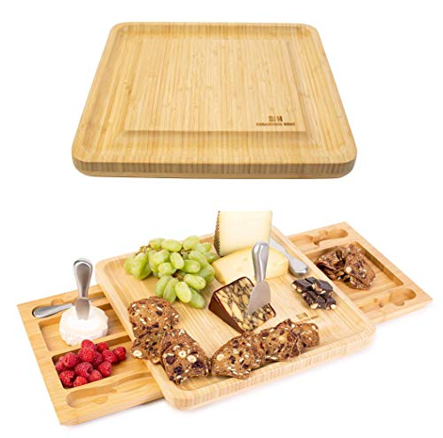 Sugarwood Home Cheese Board - stainless steel cheese knife set with two serving trays as part of the charcuterie board set; Perfect as house warming presents, wedding gifts, birthday gifts (Inside Knives Cheese Board With)