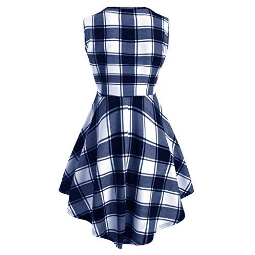 - Mysky Summer Popular Women Retro Sweet Plaid Printed Criss Cross V-Neck Irregular Hem Plus Size Tank Up Dress Blue