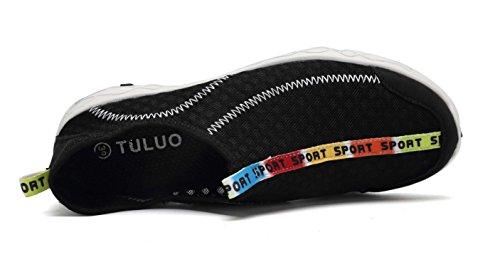 welltree Damen und Herren schnell trocknend atmungsaktiv Mesh leichte Slip auf Aqua Wasser Schuhe 1-schwarz