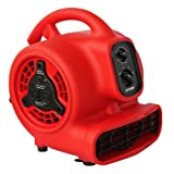 XPOWER P-200AT 1/8 HP 600 CFM 3 Speed Mini Air Mover with 3-Hour Timer and Built-In Dual Outlets for Daisy Chain, 1.5-Amp