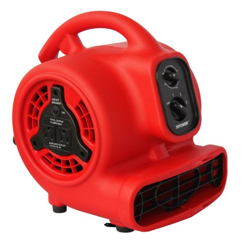 Mini Mover - XPOWER P-200AT 1/8 HP 600 CFM 3 Speed Mini Air Mover with 3-Hour Timer and Built-In Dual Outlets for Daisy Chain, 1.5-Amp