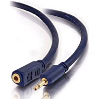 C2G/Cables to Go 40629 Velocity 3.5mm M/F Mono Audio Extension Cable (50 Feet, Blue)