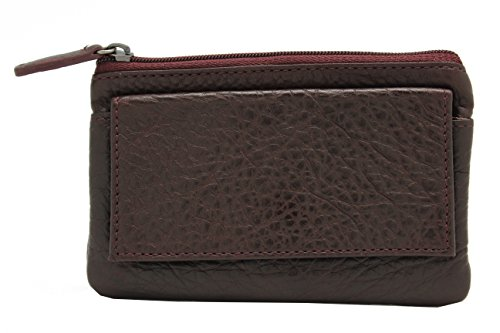 Cow Leather Mini Pouch Wallet with Keychain (Maroon) - Maroon Leather Ring