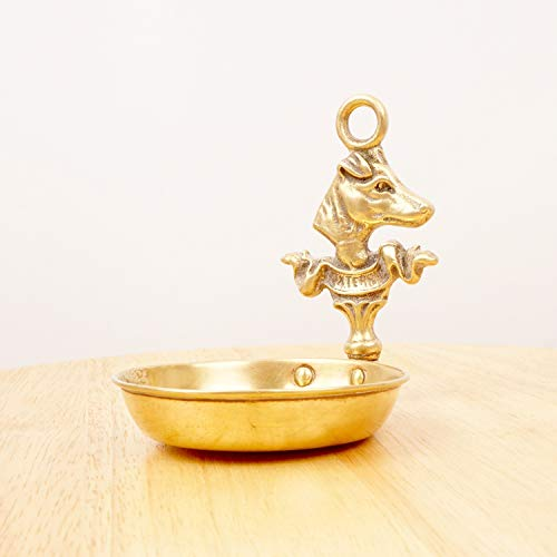 Plate/Tray / pin Tray/Jewellery Tray/Ashtray || Dog Design - Fox-Terrier || Vintage Solid Brass ()