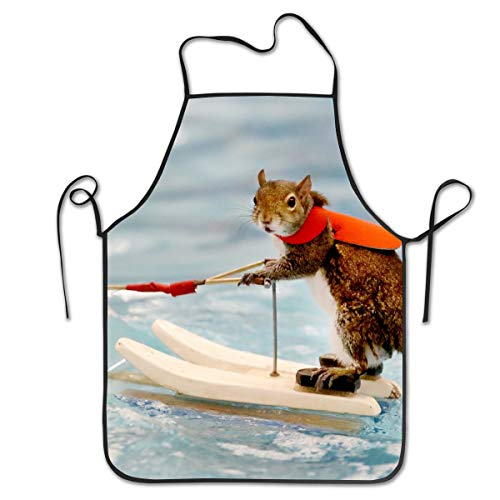 COLOMAKE Polyester Kitchen Chef Surf Squirrel Apron with Long Strap Commercial Men & Women Bib Apron for Cooking Baking Crafting Gardening BBQ -