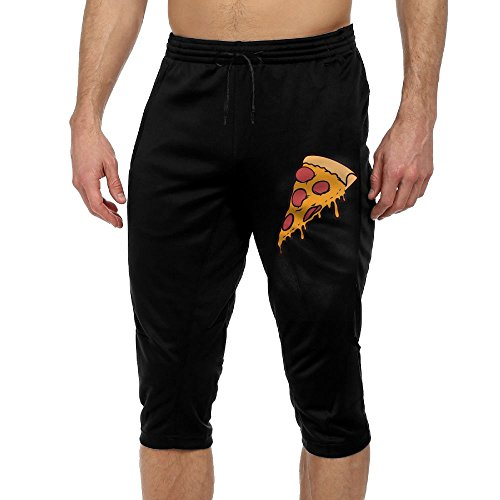 Men's Novelty Performance Pizza Seice Print Crop Sweatpant Capri Pants Drawstring Knee Pant Black Small by CNJELLAW
