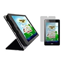 "iShoppingdeals - Black Folding Folio Cover Skin Case and Clear Screen Protector for Acer Iconia One 7"" (Model B1-730 Only)"