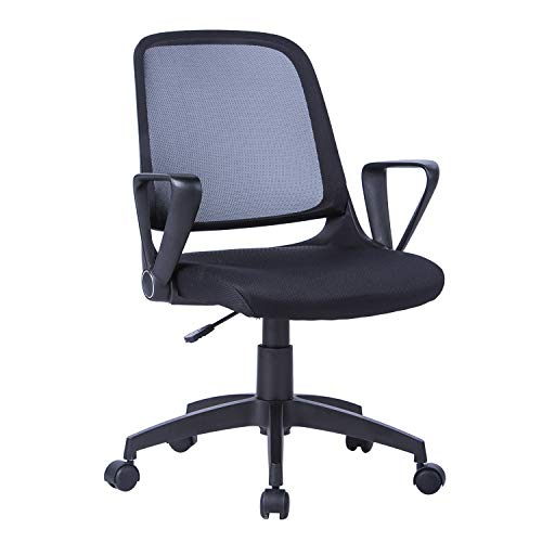 LIANFENG Mid Back Mesh Desk Chair, Ergonomic Swivel Computer Task Chair with Flip Up Armrest for Home and Office, Black