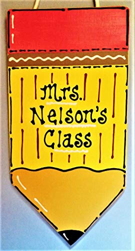 Delia32Agnes Personalized Teacher Pencil Sign Name Plaque School Class Classroom Wall Hanger Decor Handcrafted Hand Painted Wood Wooden Door Hanger - Hand Painted Name Plaque