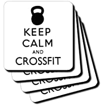 """3dRose LLC cst_159569_1 Soft Coasters, """"Keep Calm and Crossfit Kettlebell Workout """", Set of 4"""