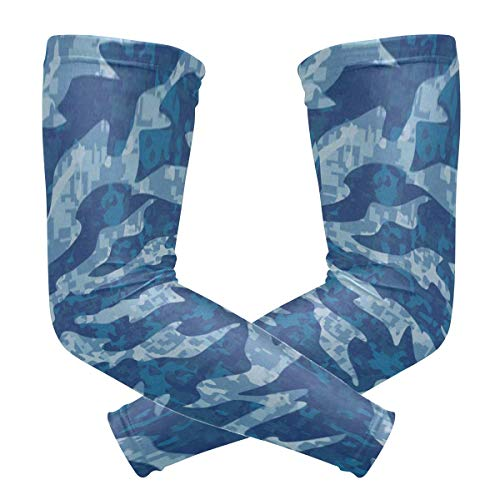 Arm Sleeves Navy Tiger Stripe Camouflage Man Baseball Long Cooling Sleeves Sun UV Compression Arm Covers