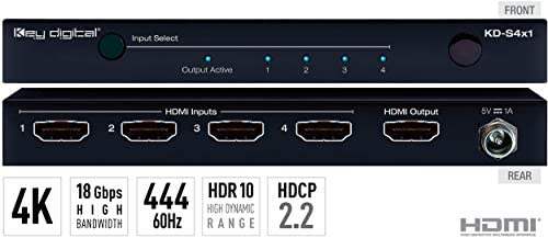 Key Digital KD-S4x1 4入力→1出力HDMIスイッチャー、HDR10、HDCP2.2、Ultra HD/4K対応