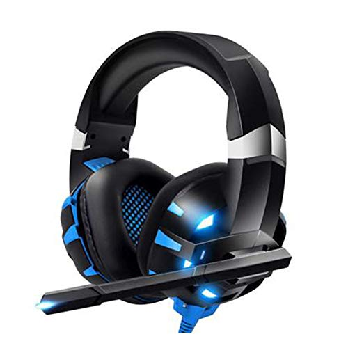 EDCM Bluetooth Earphone, Head-Mounted Gaming Headset, Noise-Reduction Cable with Wheat, Surround Sound Stereo Headphones,-BlackBlue from EDCM