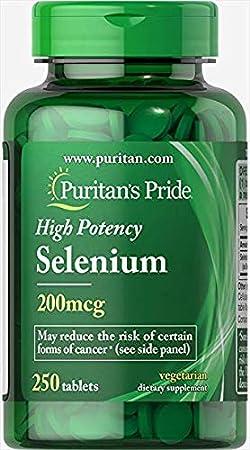 PuritansPride Selenium 200 Mcg, 250 Count
