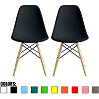 2xhome-Set of Two (2) Black-Eames Style DSW Mid Century Plastic Molded Eiffel Dining Chair