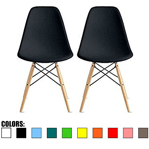2xhome - Set of Two (2) - Black - Eames Style Side Chair Natural Wood Legs Eiffel Dining Room Chair - Lounge Chair No Arm Arms Armless Less Chairs Seats Wooden Wood Leg Wire Leg Dowel Leg Legged Base