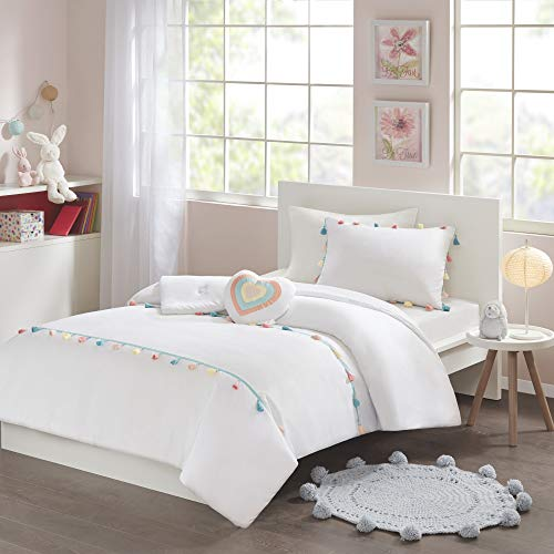 Mi Zone Kids Tessa Comforter Reversible Colorful Tassel Stripes Fringe Sham Embroidery Heart Pillow Ultra-Soft Overfilled Down Alternative Hypoallergenic All Season Bedding-Set, Twin, White