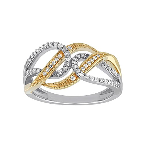 Cocktail Band Ring For Women 10Kt Gold Two-tone Diamond Accent Criss Cross Eternity Wide Ring Size 7 - Diamond Accent Criss Cross Ring