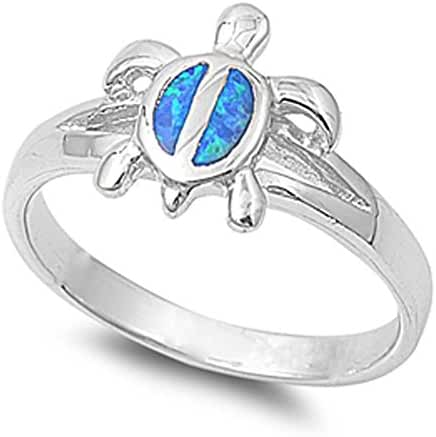 CHOOSE YOUR COLOR Sterling Silver Turtle Ring