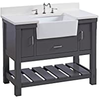 Charlotte 42-inch Bathroom Vanity (Quartz/Charcoal Gray): Includes a White Quartz Countertop, Charcoal Gray Cabinet with Soft Close Drawers, and White Ceramic Farmhouse Apron Sink
