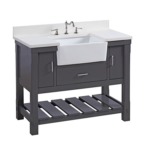 Fairmont Designs Bath Vanities - Charlotte 42-inch Bathroom Vanity (Quartz/Charcoal Gray): Includes a White Quartz Countertop, Charcoal Gray Cabinet with Soft Close Drawers, and White Ceramic Farmhouse Apron Sink