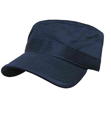 NYC Fashion Supplies Military Army Castro Hat Fatigue/GI Cadet Cap 10+ Solid/Camo Colors (Small/Medium, Navy)