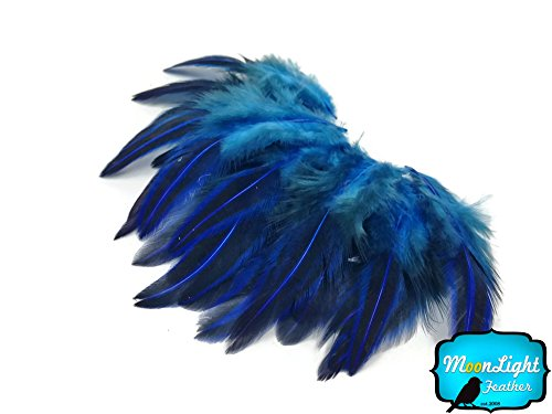 Fly Tying Bead Sizes - Loose Feathers, 10 Pieces - Royal Blue Jungle Cock Loose Plumage Feather