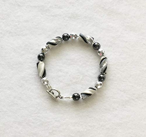 Silver Black Pearl White Twist Beads Bracelet Handcrafted Polymer Clay Shiny Glass Beads Toggle Clasp For Your Wrist