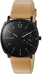 Skagen Men's 'Rungsted' Quartz Stainless Steel and Brown Leather Casual Watch (Model: SKW6257)
