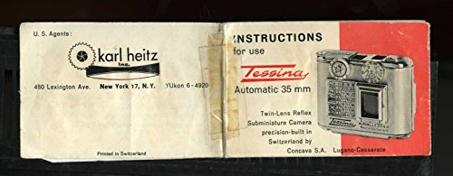 TESSINA 35MM SUBMINIATURE INSTRUCTION MANUAL for sale  Delivered anywhere in USA