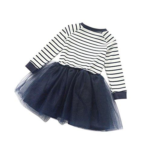 Gloous Kid Girl Toddler Pageant Stripe Splice Long Sleeve Dress (140, blue) - Hello Kitty Blue Romper Child Costumes