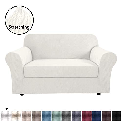 H.VERSAILTEX 2 Separate Pieces Stretching Slipcover/Furniture Cover for Loveseat Thick and Durable Soft Spandex Lycra Jacquard Loveseat Cover for Leather Couch, Easy to Put On, Ivory White
